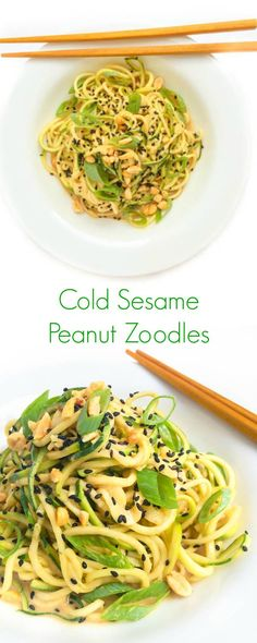Your favorite Chinese takeout dish gets a healthy makeover with zucchini noodles in this Cold Sesame Peanut Zoodles bowl!