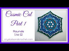 Cosmic cal part 1 rounds 1 12 - YouTube Crochet Squares, Crochet Granny, Crochet Stitches, Free Crochet, Crochet Afghans, Knit Crochet, Crochet Mandala, Food Crafts, Free Tutorials