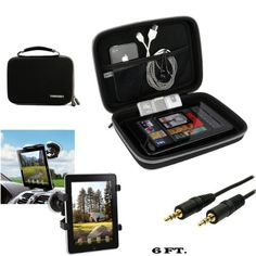 Hard Nylon Multipurpose Hard Case For Verizon Wireless Ellipsis 8 HD  Ellipsis 7 HD Tablet  Auxiliary Cable  Windshield Car Mount ** You can find out more details at the link of the image.Note:It is affiliate link to Amazon.