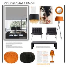 """Color Challenge Orange and Black"" by efashiondiva7 ❤ liked on Polyvore featuring interior, interiors, interior design, home, home decor, interior decorating, Surya and Kartell"