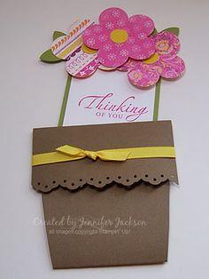 A fun spring card shaped   Ike a flower pot!