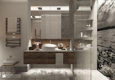 Nowoczesna łazienka w szarościach - Architektura, wnętrza, technologia, design - HomeSquare