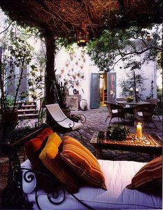 Jewel tones outdoor courtyard space