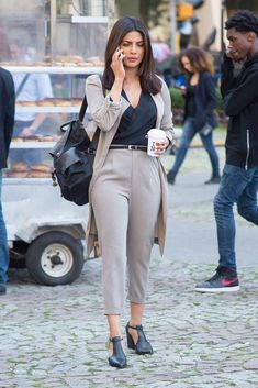 Pin for Later: Priyanka Chopra Just Wore the 1 Shoe Every Power Woman Needs in Her Wardrobe Her backpack kept the outfit casual outside of the office Shop similar pieces below! Fashion Mode, Work Fashion, Star Fashion, Trendy Fashion, Fashion Outfits, Womens Fashion, Office Fashion, Fashion Shoes, Classy Fashion
