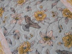 Hummingbird Quilted Table Runner in Blue Yellow and White, Birds and Flowers, Quilted Table Topper, Quilted Tablecloth, Quilted Table Mat by SusiQuilts on Etsy