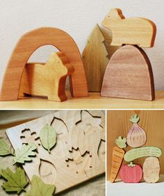 Handmade wooden toys from Just Hatched...love the leaf identification puzzle!