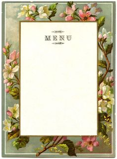 Click on Images to EnlargeThis is another beautiful Vintage French Menu. This menu features a pretty Blossom Branch border, with Soft Muted Tones! I've created a couple of versions, including a blank one with the word Menu at the top, and a totally blank one that you can use as a Frame or Label! You can find a similar Menu HERE.In Other News: I've created a new French Transfer Printable! You can grab it HERE.
