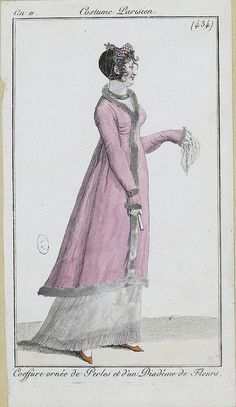 c. 1802 - costume parisien - coiffure ornee de perles et un diadem de fleurs - hairstyle adorned with pearls and a diadem of flowers