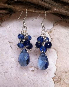 Royal Blue Chandelier Earrings with Light Blue by SmockandStone, $15.00