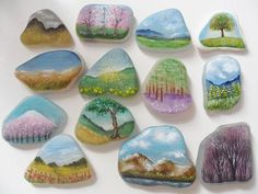 Tiny landscape paintings on sea glass and pottery