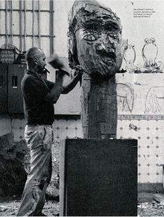 Georg Baselitz in his studio .