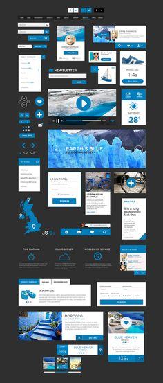 フラットデザインを実現するフリーUIデザインPSD「The Flat Design UI Pack」 | DesignDevelop