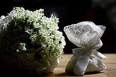 Hand made white wedding favors