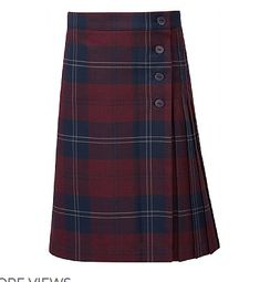 c8dba44094 Stitched down knife pleats Internal waist adjuster Button fastening to  waistband and wrap front Side pocket Quality yarn-dye tartan fabric