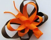 Fall/Autumn Orange & Brown Butterfly Hair Clip - Two-Tone - Cute Party Favor or Gift