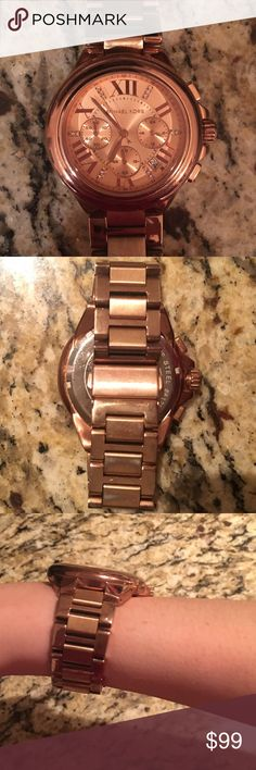 Michael Kors Rose Gold Watch Beautiful rose gold Michael Kors watch. Worn gently and i have a zoomed in picture of some tarnishing on the wrist part, but the watch face has no scratches and is in great condition. Has links taken off so it's for a small wrist. Michael Kors Jewelry