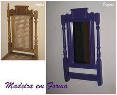 Espelho feito com encosto de cadeira