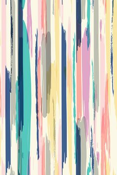 Brush Stroke_Stripe by crystal_walen. Pastel colors in abstract painterly strips on a white background. Navy, pink, peach, lavender, mustard, orange, and gray. Available on fabric, wallpaper, and gift wrap.