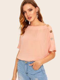 Product name: Boat Neck Buttoned Detail Top at SHEIN, Category: Blouses Criss Cross, Blouse Online, Summer Shirts, Batwing Sleeve, Pink Fashion, Boat Neck, Types Of Sleeves, Fashion News, Grenada