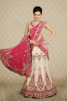 Off White and Pink Lengha