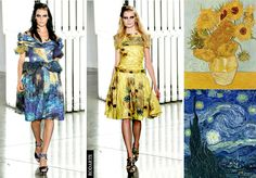Fashion woe or more?   Vincent Van Gogh's 'Sunflowers' and 'Starry Night' printed onto 50's inspired dresses
