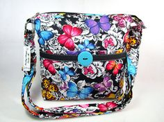 Butterflies on Flowers Handmade Cross Body Fabric Purse /