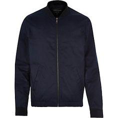 Navy blue casual contrast neck bomber jacket