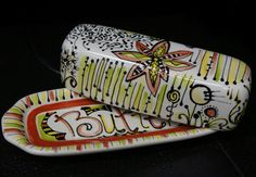 Custom butter dishes, hand painted with whimsical designs