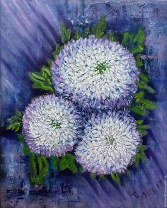 """Купить Картина маслом """"Хризантемы крупноцветковая белая"""", картина цветы - синий, белый, фиолетовый, сиреневый"""