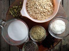 Muesli ingredients, oats, coconut milk, pumpkin seeds, healthy breakfast