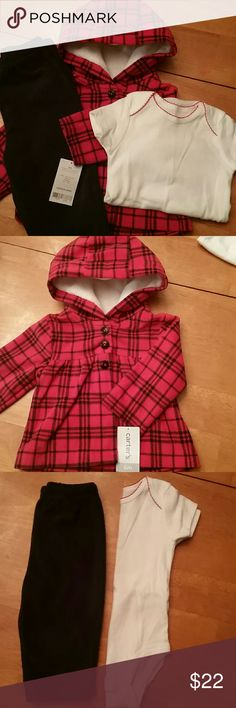 NWT 3pc fleece outfit Brand new, Carter's 3pc outfit, size 6m. It was a a gift but I have a boy & I think this is for a girl. Piece 1 - white onzie with red embroidery on neckline and 3 snaps at crotch. Piece 2 -  red and black plaid, fleece over shirt/jacket is pleated across front and has hood and three bottons at chest. Piece 3 - black fleece pants with elastic waist. Ask for measurements if needed. Smoke/pet free environment. Follow me to c the many new upcoming items. Carter's Matching…