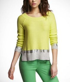 Yellowwwwwww!!! Havent shopped Express in a while but couldnt say no to this cotton sweater with silver trim!