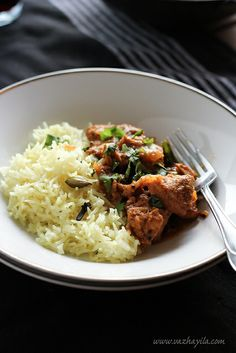 Coorg style chicken curry with yellow rice pulao  by Sarah@Vazhayila.com, via Flickr
