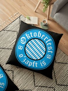 'Oktoberfest O'zapft Is Germany Bavarian ' Floor Pillow by Dialectees Floor Pillows, Throw Pillows, Cooking Timer, Cotton Tote Bags, Ireland, Germany, Cushions, Couch, Humor