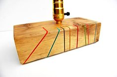 Notches_Unique handcrafted table lamp from reclaimed wooden