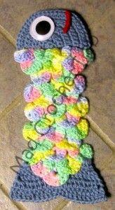 Free Crochet crocodile stitch fish tie Pattern