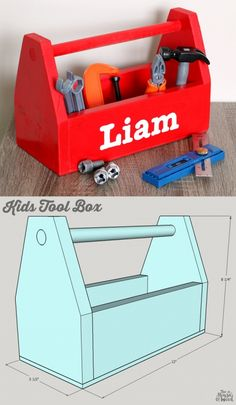 Woodworking Projects For Kids How to build a DIY Kids Tool Box - free building plans by Jen Woodhouse - How to build a DIY kids tool box. Free building plans by Jen Woodhouse. Kids Woodworking Projects, Wood Projects For Kids, Woodworking Toys, Popular Woodworking, Diy Projects, Project Ideas, Woodworking Furniture, Furniture Plans, Woodworking Classes