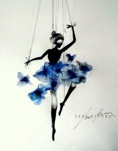 art, ballerina, ballet, beauty, blue, butterflies, doll, draw, drawing, flowers, life, melancholy, paint, painting, pencils, portreit