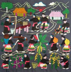 Hmong story quilt