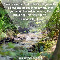 """Now may the God of hope fill you with all joy and peace in believing, that you may abound in hope by the power of the Holy Spirit."" Romans 15:13 #Scripture #Prayer"
