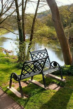 River Wye at Redbrook, Gloucestershire, England. I love this bench! Peaceful Places, Beautiful Places, Forest Of Dean, England Ireland, British Countryside, Belle Photo, Porches, British Isles, The Good Place
