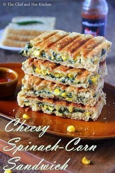 Grilled Corn and spinach sandwich recipe with step by step photos .I always look… Grilled Corn and spinach sandwich recipe with step by step photos .I always look for various sandwich recipes as they are filling and ca… Grill Sandwich, Corn Sandwich, Grilled Sandwich Recipe, Vegetarian Sandwich Recipes, Veg Recipes, Indian Food Recipes, Lunch Recipes, Breakfast Recipes, Cooking Recipes