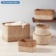 Beautiful, yet neutral storage baskets that work just about anywhere! (Shown: Carmel Baskets, Tahoe Bins) Small Space Organization, Container Organization, Craft Organization, Organizing, Subtle Textures, Container Store, Basket Decoration, Decorative Storage, Storage Baskets