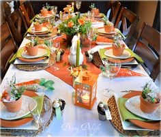 Carrots and Bunnies Easter Table by Dining-Delight, 10 Easter Table Ideas via A Blissful Nest