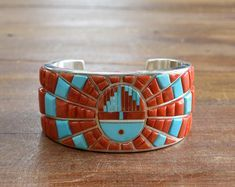 Vintage Navajo Sterling Silver Turquoise And Coral Sunface Inlay Cuff Bracelet By Harrison Jim