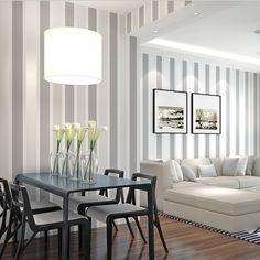 ARUHE - 10m Elegante 3D Papel Pintado a Rayas Decorativo del No-tejido Papel de Pared Pintado, Color gris plata