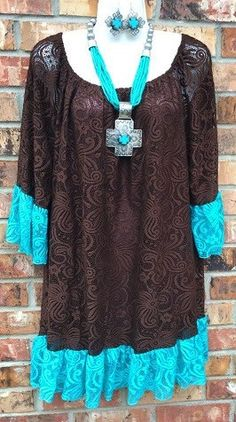 * Brown Lace Tunic with Turquoise Trim – Shop Southern Charm