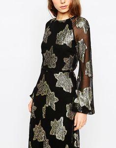 Image 3 ofASOS Foil Floral Midi Skater Dress