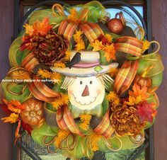 Scarecrow With Crow Fall Deco Mesh Wreath by myfriendbo on Etsy, $75.00