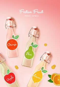 Dress up bottles of home made fruit juices, ciders, sodas or fruit infused waters with these free festive labels. Take a bright and bold decorative approach to summer picnics, home entertaining and even gifts!    Continue for more pics and to download your freebie!